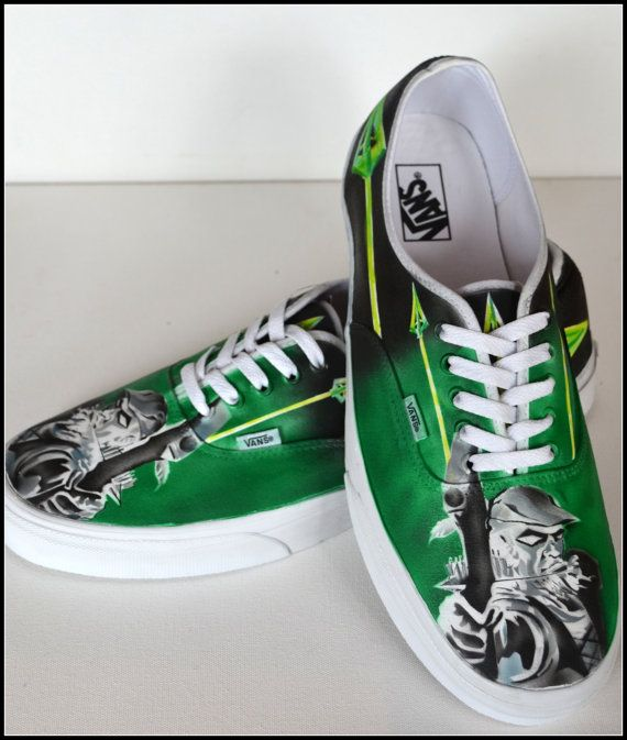 42ec07dc0352 Green Arrow Superhero Sneakers - One of a kind hand painted. Available in  Mens Converse or Vans. Custom shoe designs