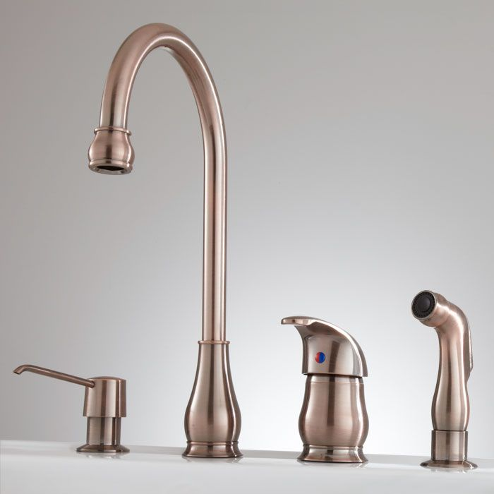 Barrow Widespread Kitchen Faucet With Hand Spray And Soap Dispenser    Antique Copper