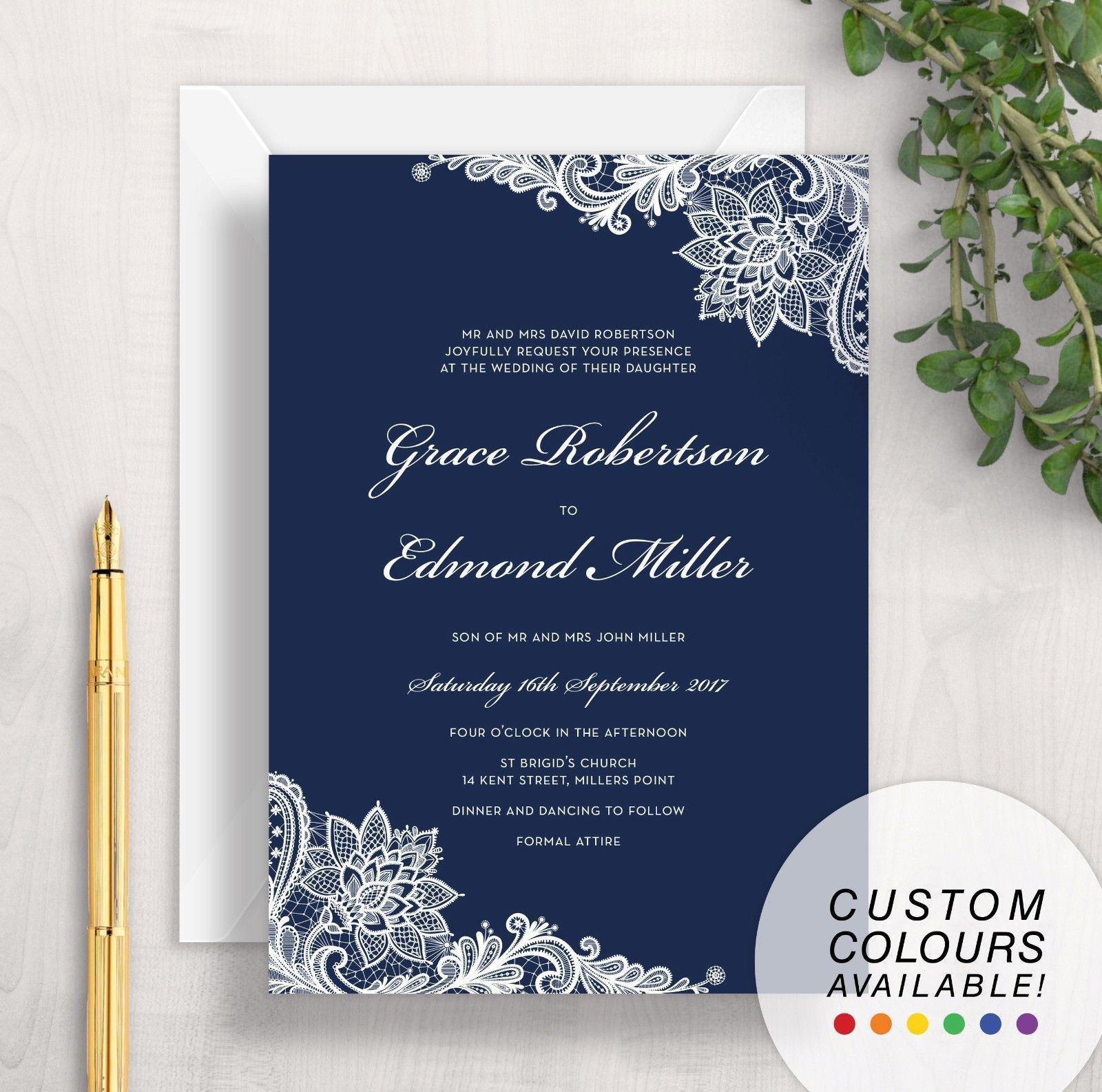 Sample Wedding Invitation Navy Blue White Lace Formal Elegant Vintage Floral Wedding Invitation Samples Navy Wedding Invitations Navy Blue Wedding Invitations