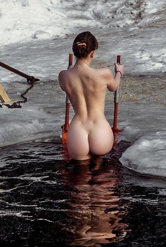 nude girls in icy water