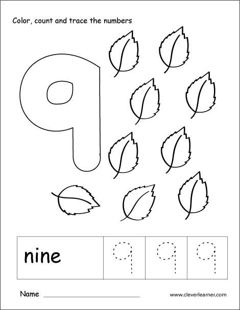 Number 9 tracing and colouring worksheet for kindergarten ...