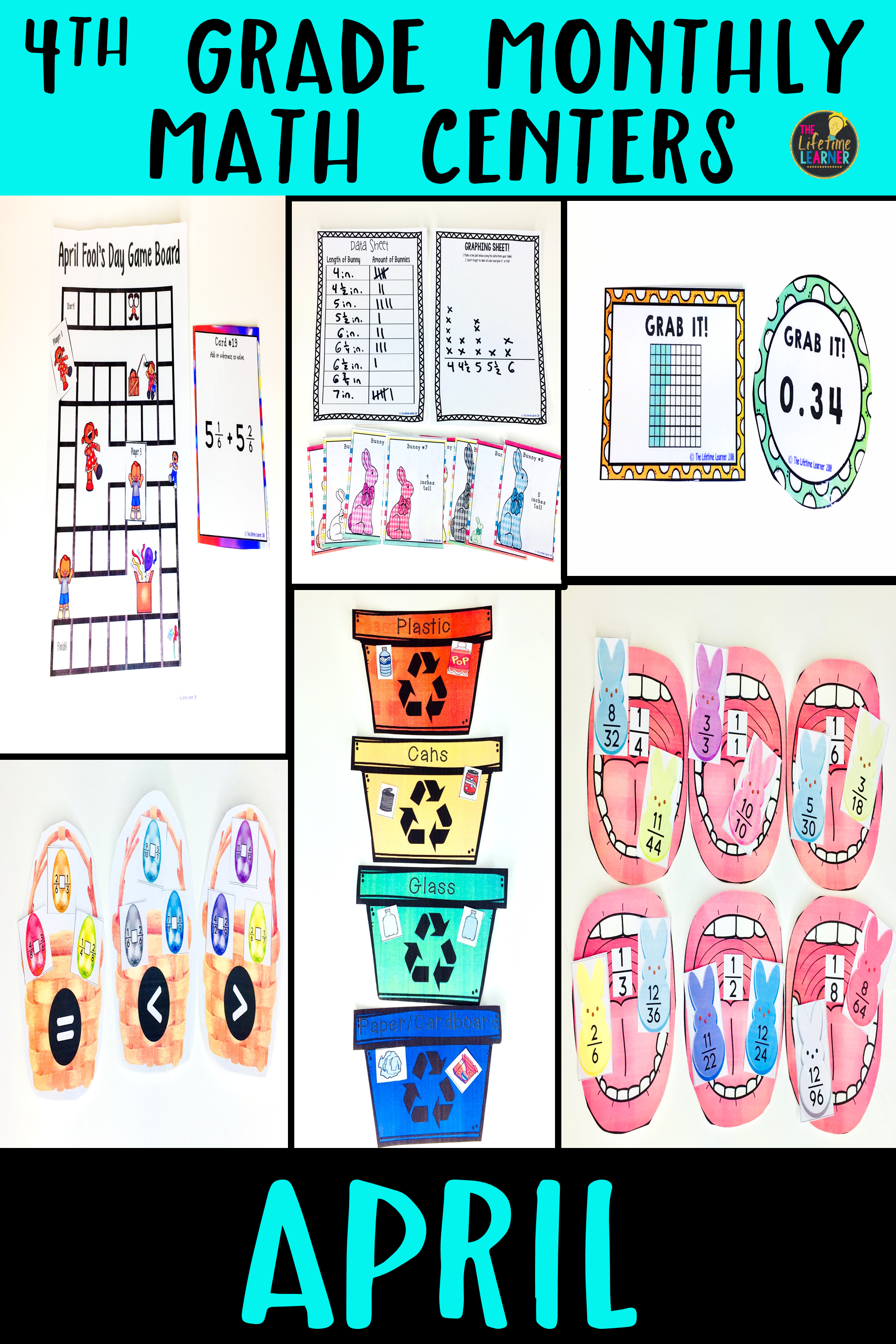 Easter 4th Grade Math Centers Bundle