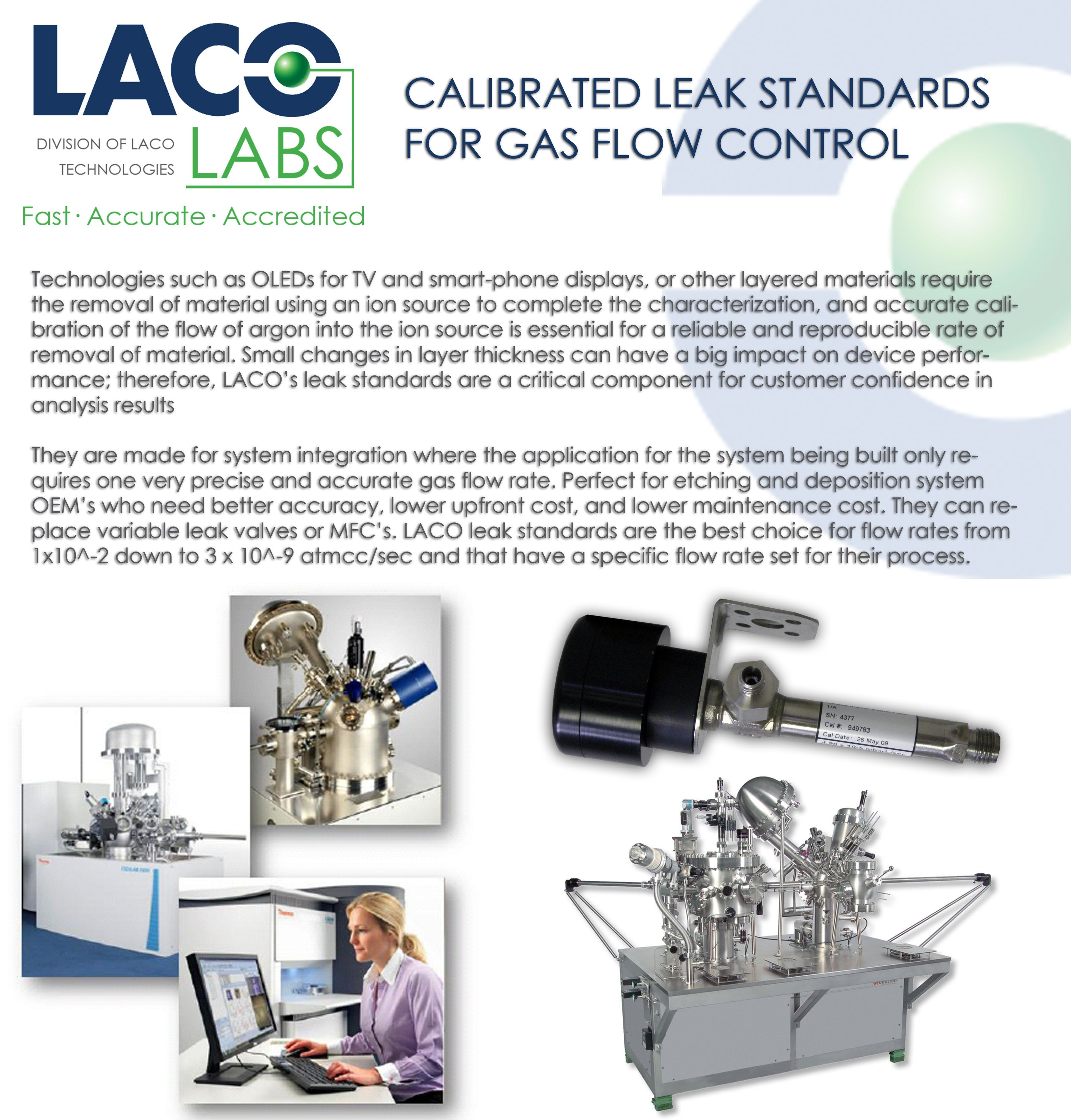 Leak standards for gas flow control integrated into xps