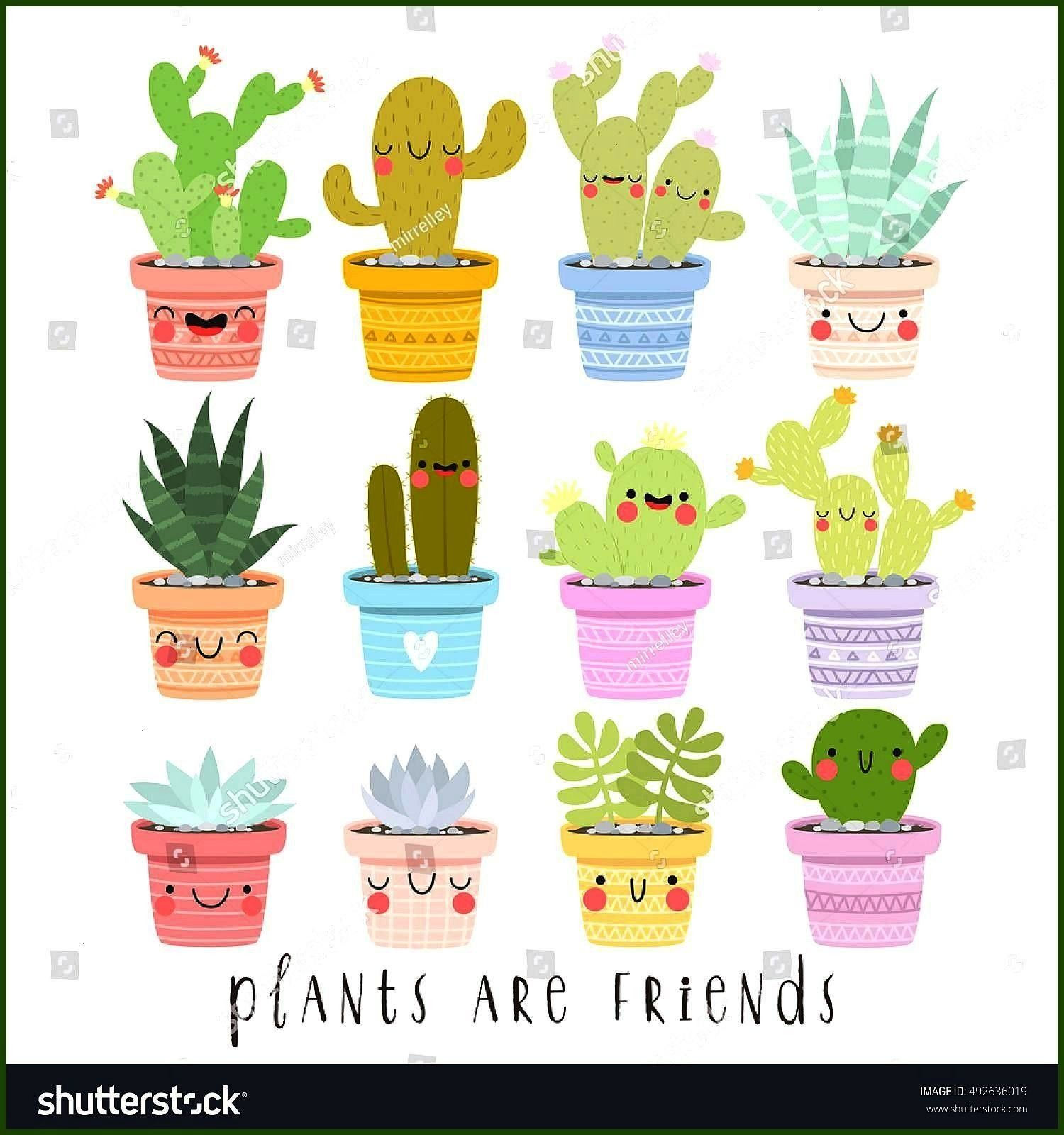 of illustrations of cute cartoon cactus and succulents with funny faces in pots and with plants are friends text message can be used for card big set of illustrations of...