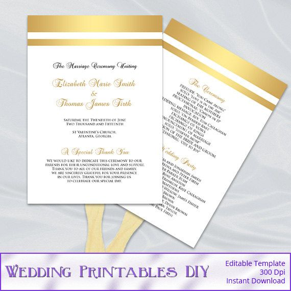 Gold Wedding Fan Program Template Diy Foil Striped Ceremony Paddle Fans Printable Editable Text Instant Download Pdf Word P127
