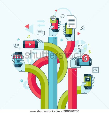 Flat line design concept for mobile phone apps and