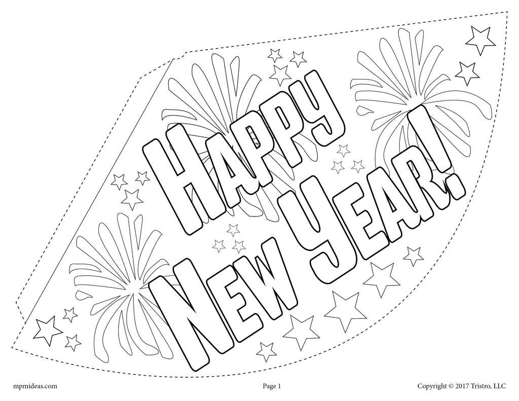 13+ New year party hat coloring page download HD