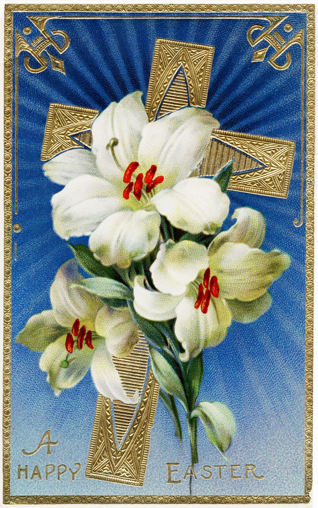 Free printable easter cross and lilies vintage cardfront