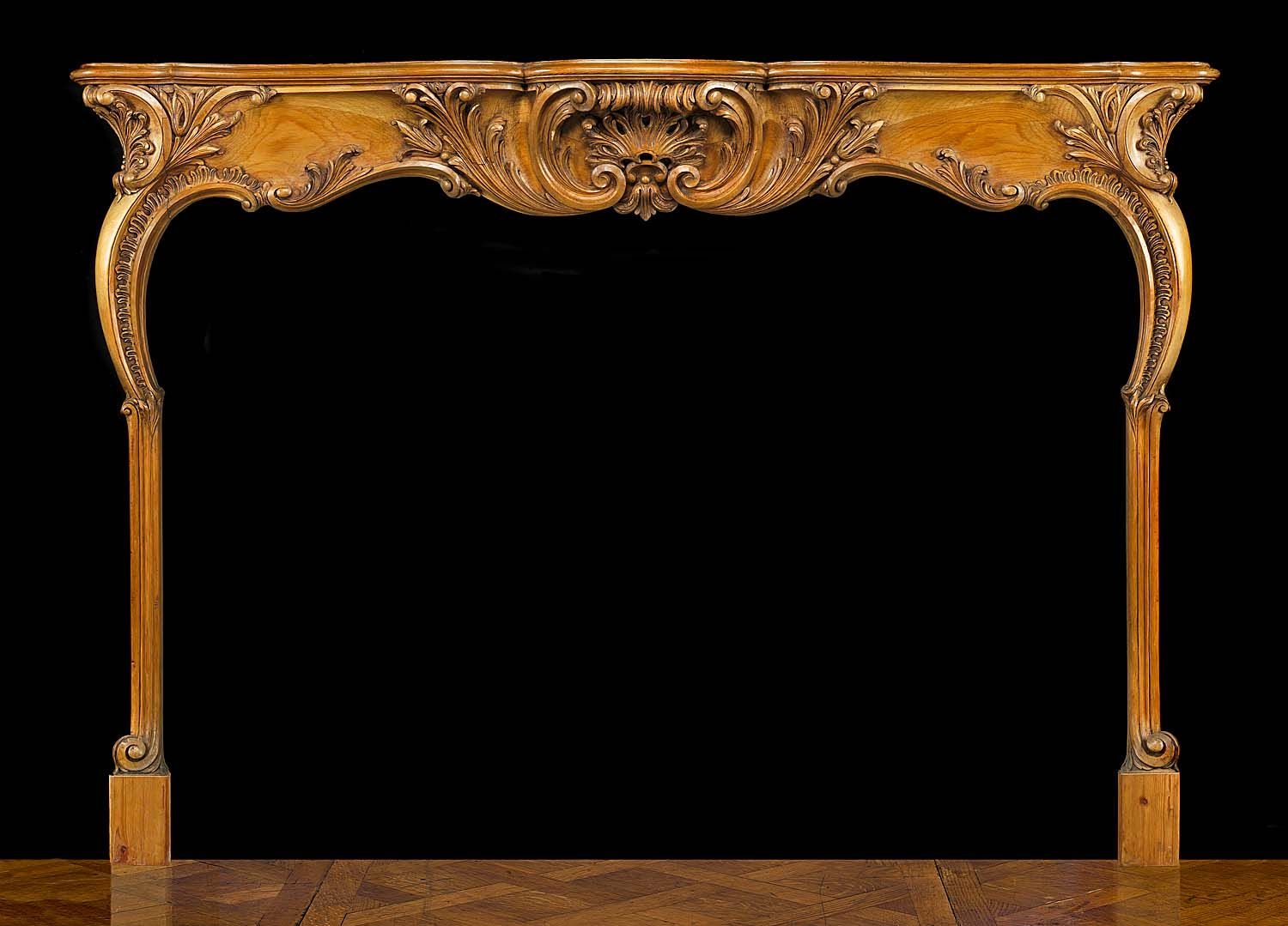 WOODEN ROCOCO FIREPLACE AND MARBLE INSERT