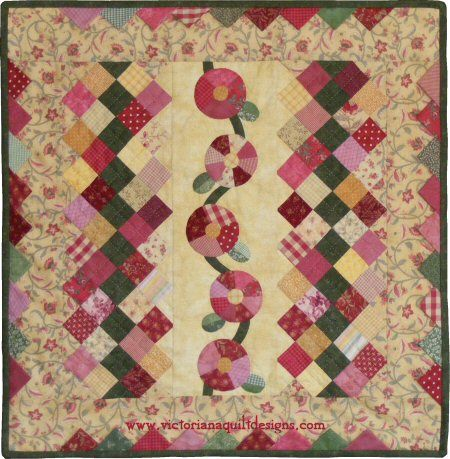 Let's Have a Cuppa! Table Topper Quilt Pattern with Easy Peasy Dresden Flowers by Benita Skinner from Victoriana Quilt Designs. Details here: http://victorianaquiltdesigns.com/VictorianaQuilters/PatternPage/LetsHaveaCuppa/LetsHaveaCuppaTableTopper.htm