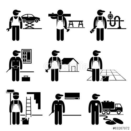 vektor  handyman labor labor skilled jobs occupations
