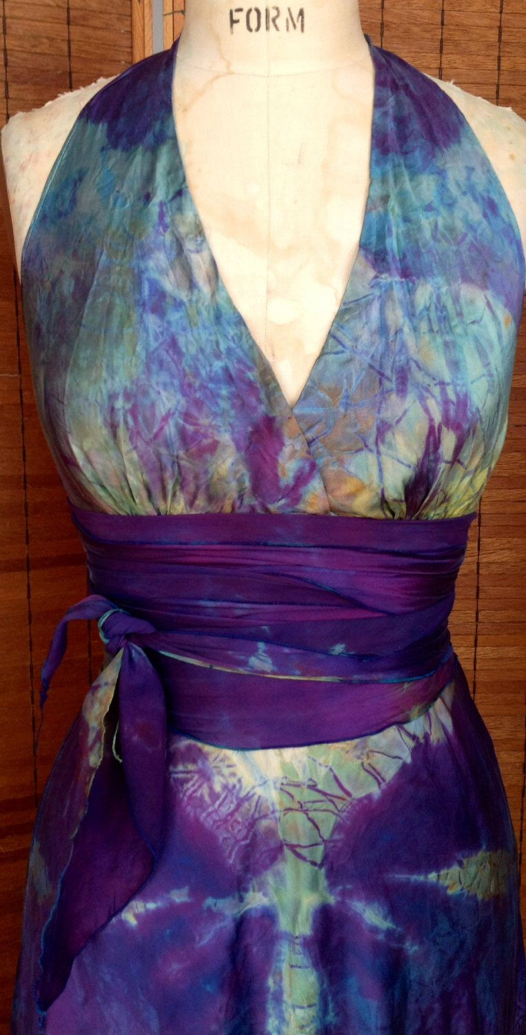 Purple and turquoise wedding dresses  Purple turquoise silk halter wedding dress mother of the bride boho