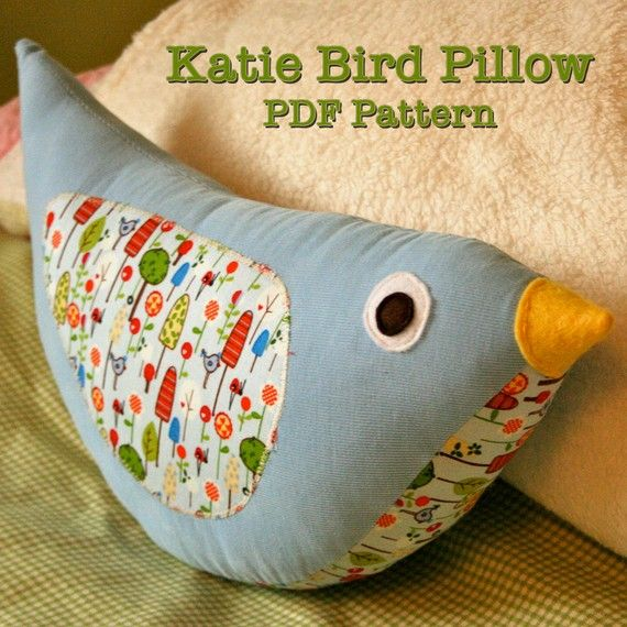 Katie Bird Stuffed Pillow PDF Sewing Pattern Easy Fast Adorable
