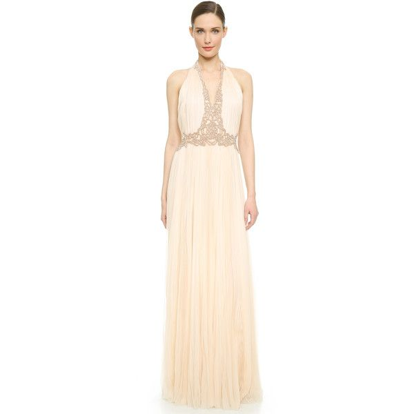J. Mendel V Neck Pleated Gown ($2,530) ❤ liked on Polyvore featuring dresses, gowns, deep v neck dress, pink ball gown, peplum dress, low v neck dress and halter top