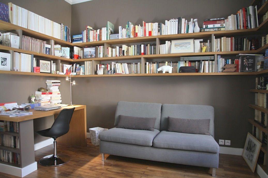 biblioth que sur mesure suspendue ch ne vieilli et m dium. Black Bedroom Furniture Sets. Home Design Ideas