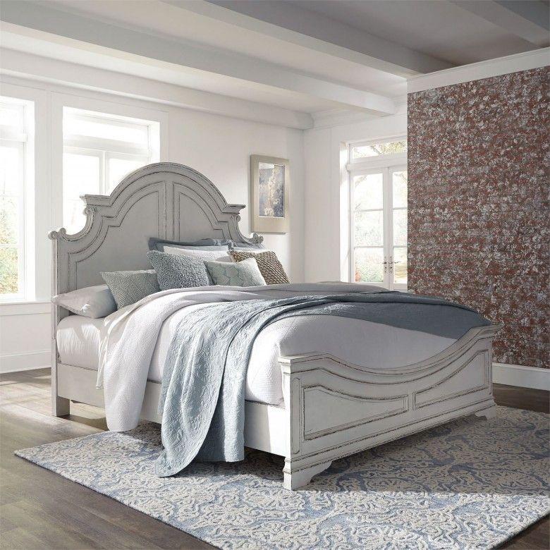 Magnolia Manor Antique White Queen Panel Bed White