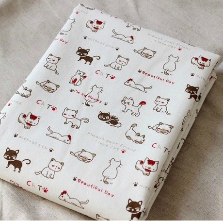 Cut Cats Fabric zakka Cotton Linen by Watermelonbaby2013 on Etsy
