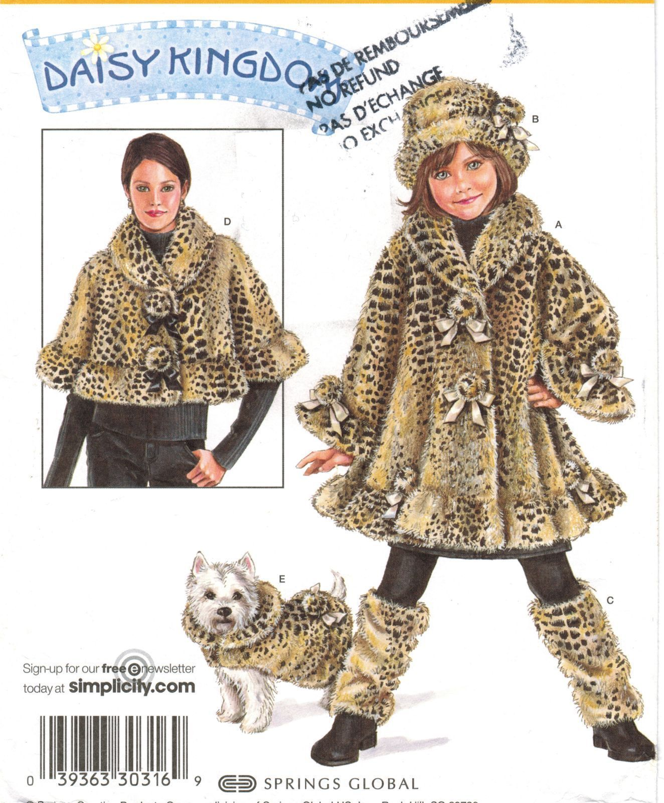 4f1a8dd66e7 Misses Capelet Child Fur Coat Hat Leg Warmers Dog Coat Daisy Kingdom ...