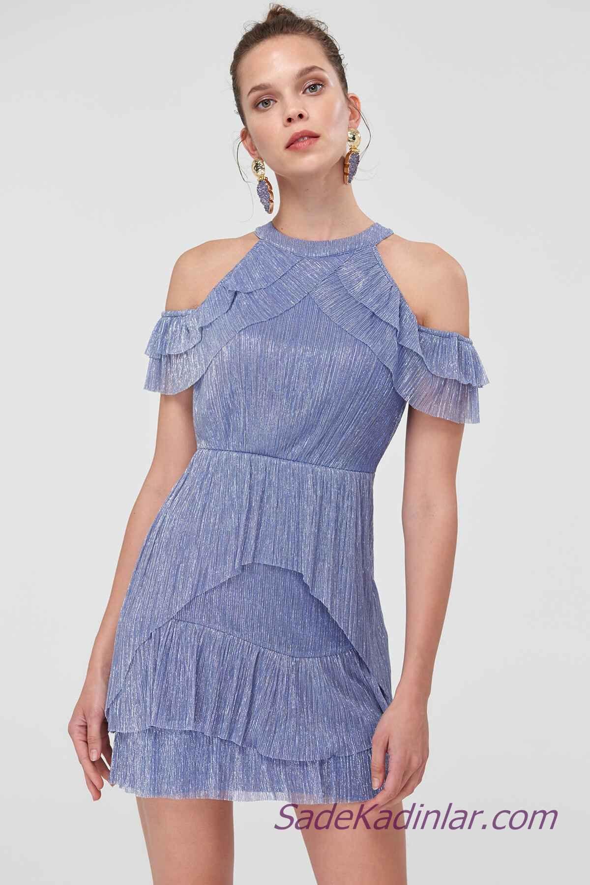 2019 Abiye Elbise Modelleri Mavi Kısa Omuzlar Açık Fırfır Detaylı
