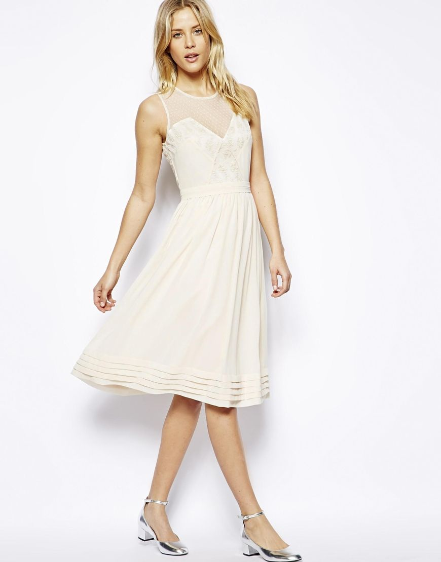 ASOS Midi Dress With Lace Inserts http://asos.to/1brROPA | Clothing ...