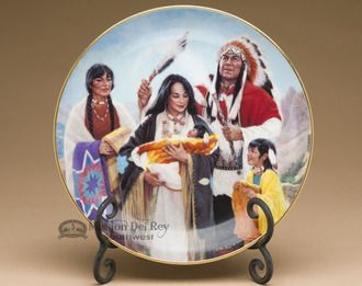 Native America Collector Plate & Stand from the Proud Indian Families Collection - The Naming Ceremony, by K.H. Kasiman (plt24)