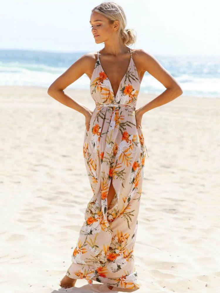 a6492edf18 Boho Maxi Dress Floral Print Plunging Women's High Split Backless Summer  Long Slip Dresses