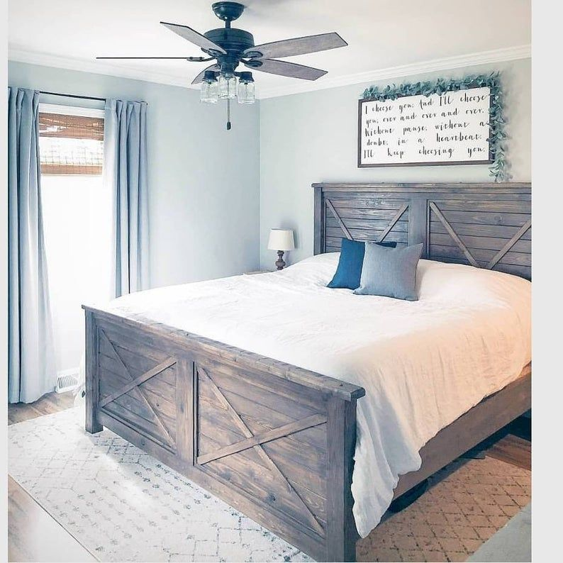 Farmhouse bed bedroom rustic bed king queen full