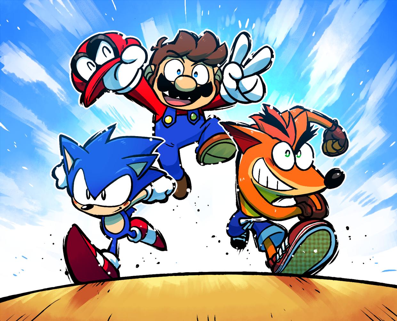 Mario, Crash and Sonic! | クラッシュバンディクー, イラスト, マリオ