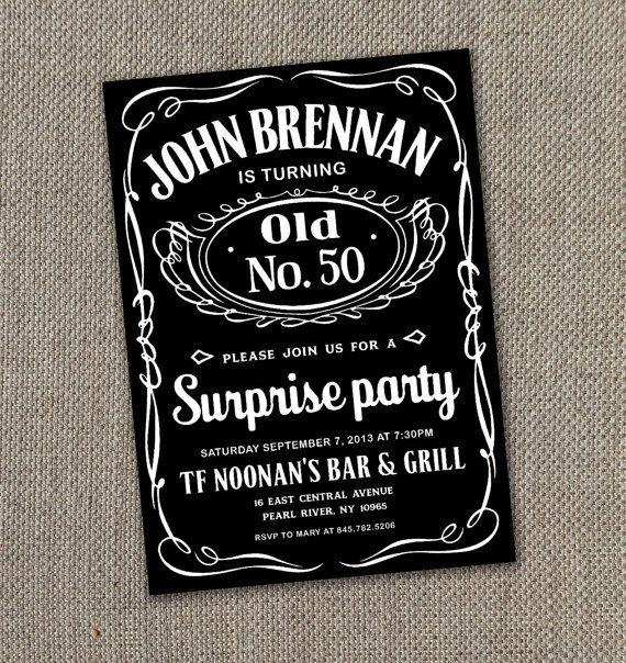 jack daniels printable invitation 5 x 7 digital file