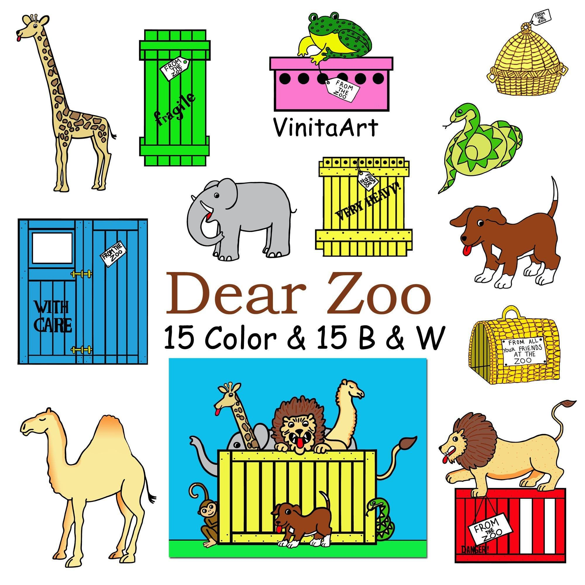 Dear Zoo Storybook Clip Art Printable Coloring Pages Teacher Resource Teaching Props Digital Download Zoo Animals Classic Story Dear Zoo Dear Zoo Book Story Books Illustrations