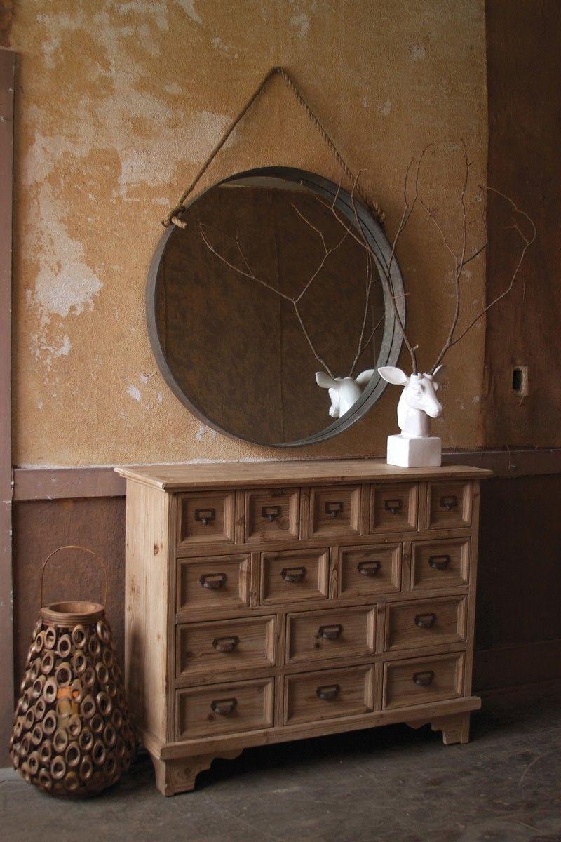 Large Round Metal Frame Mirror W Rope Hanger Large Round Mirror