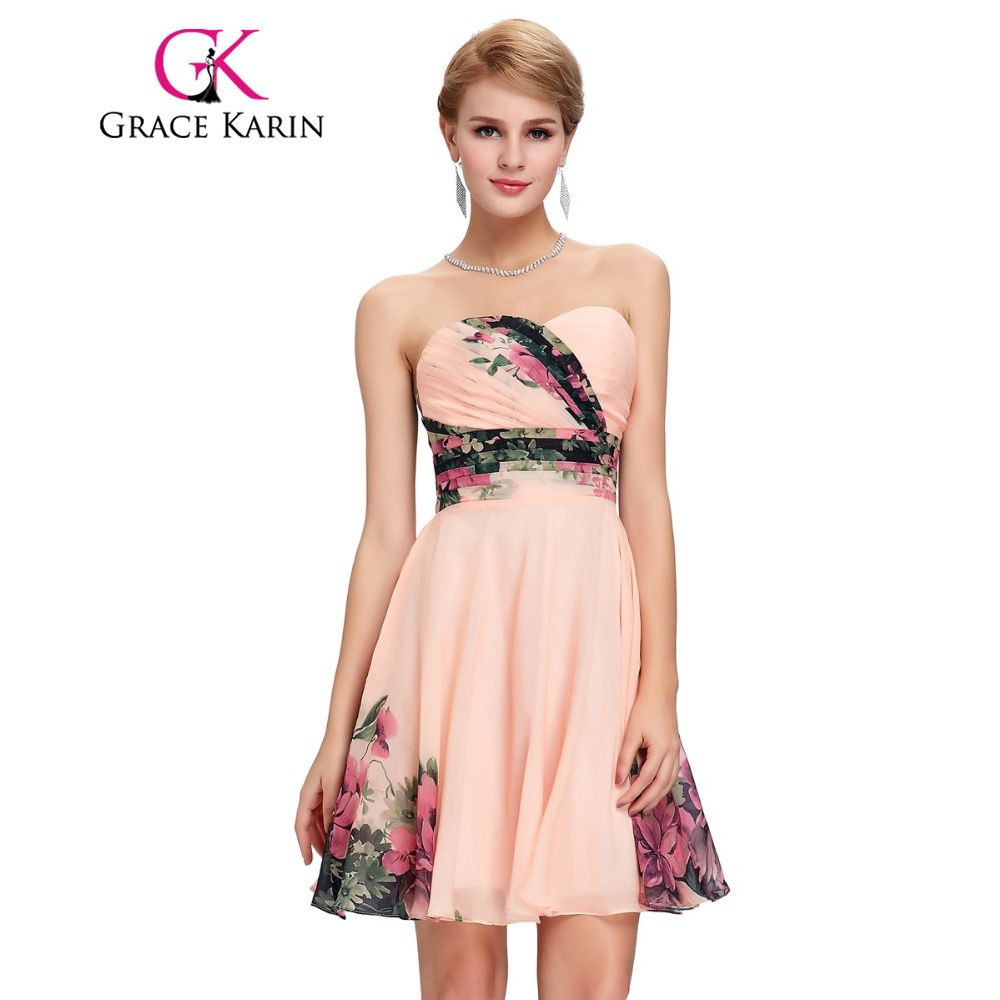 Grace karin floral print pattern short cocktail dress sexy ruched