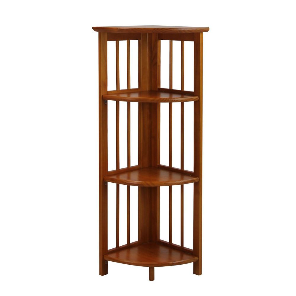 Corner bookcase wood folding bookshelf tier storage organizer
