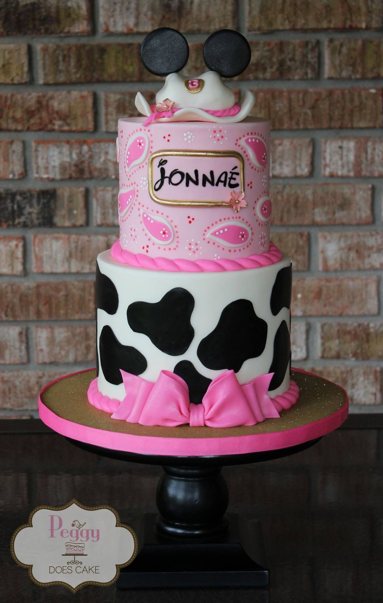 Amazing Western Minnie Mouse Cake Cowgirl Minnie Cake Country Minnie Personalised Birthday Cards Bromeletsinfo