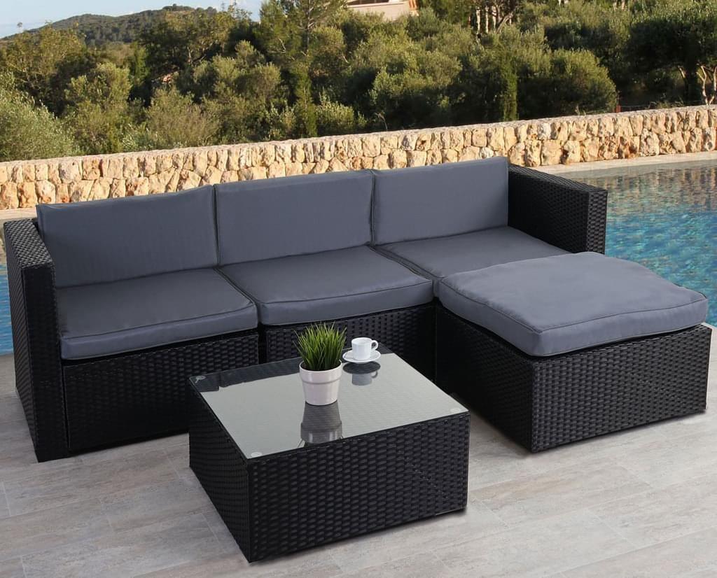 Poly Rattan Garnitur Hwc D28 Gartengarnitur Sofa Set Anthrazit Polster Grau Ohne Lounge Gartenmobel Sets Polyrattan