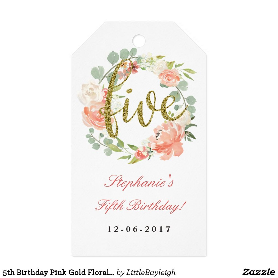 5th Birthday Pink Gold Floral Wreath Tags | { Happy Birthday ...