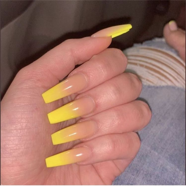Stunning And Gorgeous Summer Coffin Acrylic Nail Designs For Your Inspiration Summer Coffin Acrylic Nail C Cute Spring Nails Ombre Acrylic Nails Spring Nails