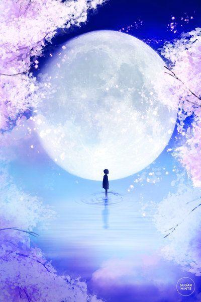Pleine Lune Du 22 Avril 2016 Paysage Manga Images Paysages Illustration De Paysage