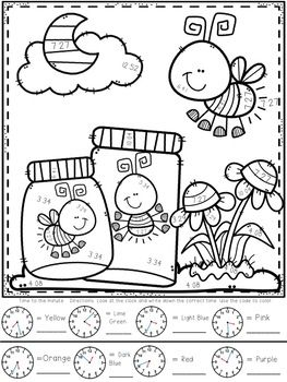 3 Md A1 Telling Time To The Hour And Half To The Minute And Elapsed Time Color By Number Spring Them Art Drawings For Kids Coloring Pages Colouring Pages