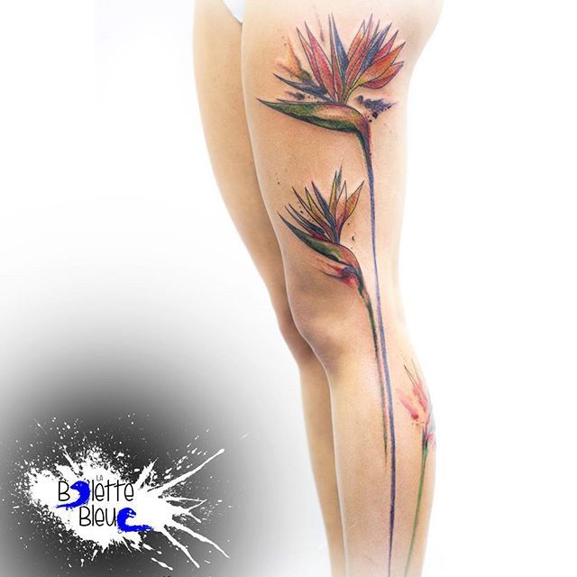 Birds of paradise flowers #ink #inked #inkedgirl #tattoo #tattoos…