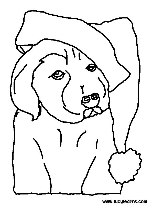 Christmas Coloring Dog Page Print Puppy Pages