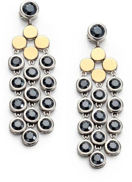 John Hardy Hematite 18k Gold Sterling Silver Dot Chandelier Earrings in Black