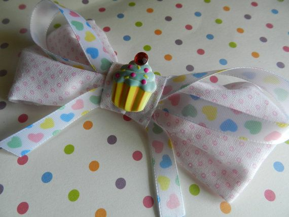 Sweet Lolita cupcake hearts light pink bow hair by KagomeCharm, $5.00