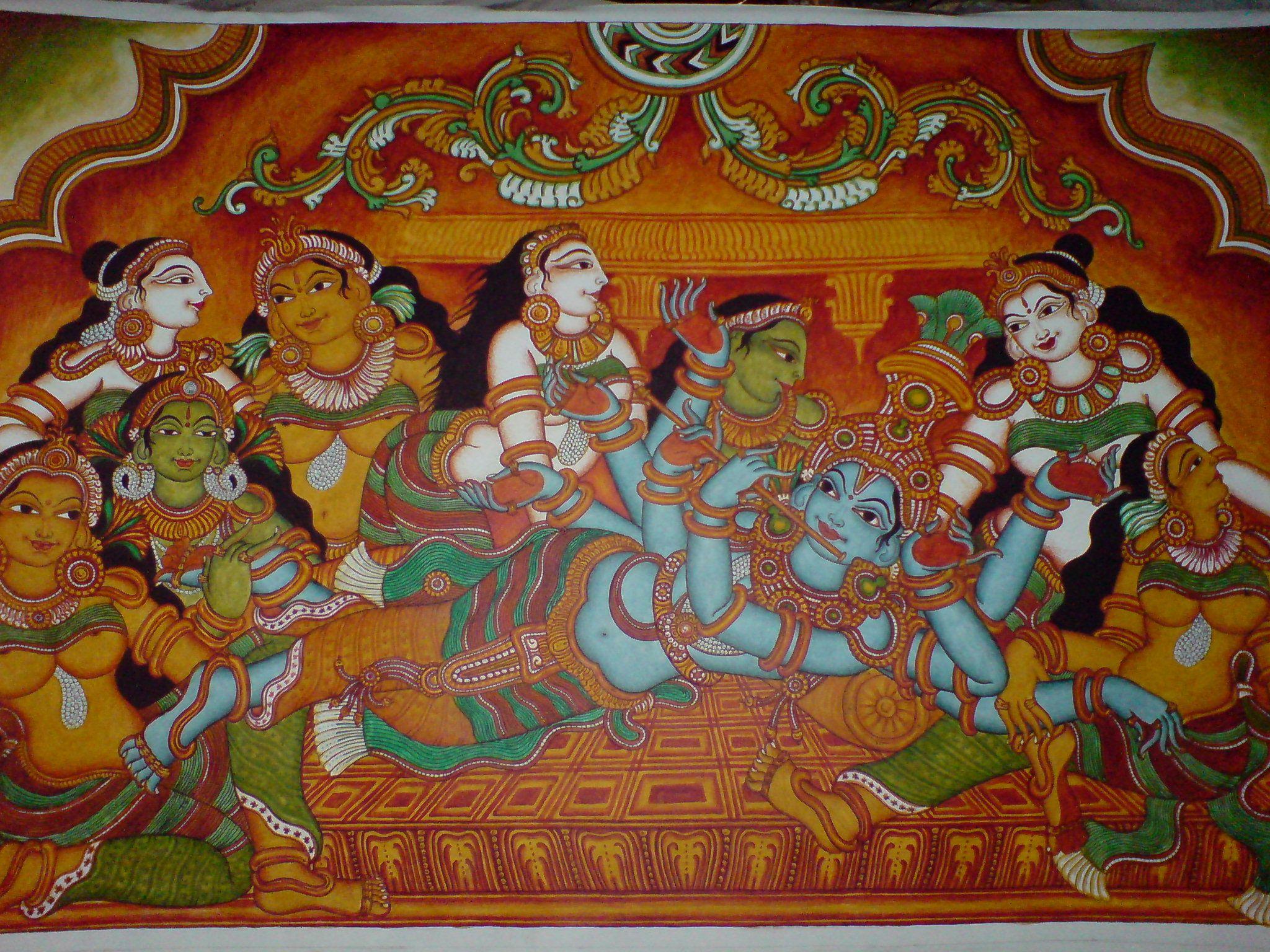 Revisiting traditional mural art t l namaste for Asha mural painting guruvayur