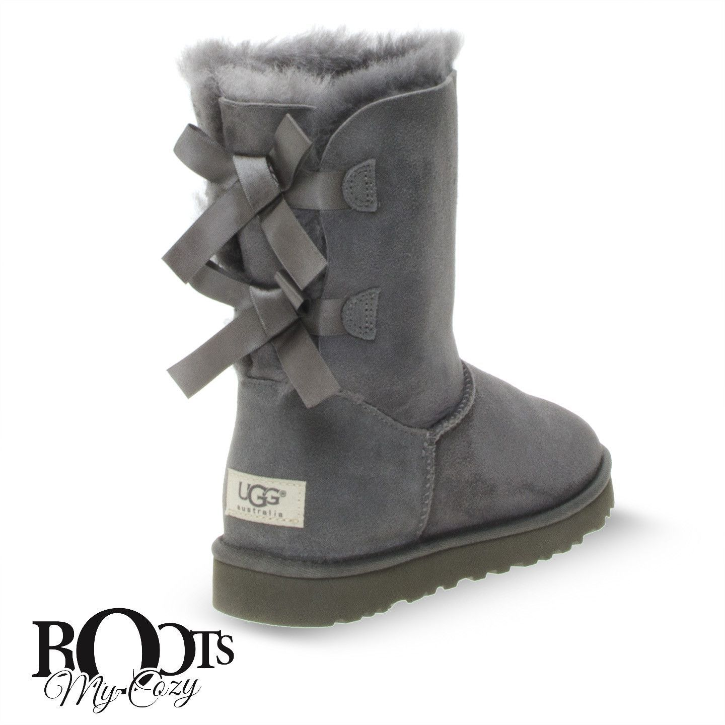 UGG BAILEY BOW GREY BOOTS - WOMEN'S
