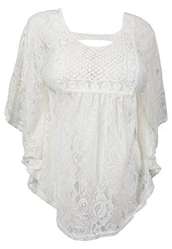 f84c3b0c9ed eVogues Plus Size Sheer Crochet Floral Lace Poncho Top Of ...