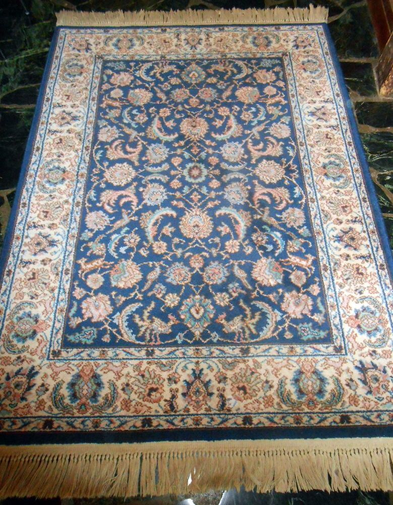 Karastan Great 747 Indigo Blue Tabriz 4 3 X 6 Wool Area Rug Carpet Exc Cond Arearug