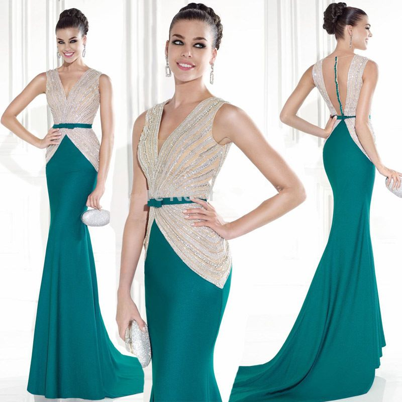 2015 New Arrival Fast Shipping V Neck Mermaid Prom Gown Sheer Nude ...