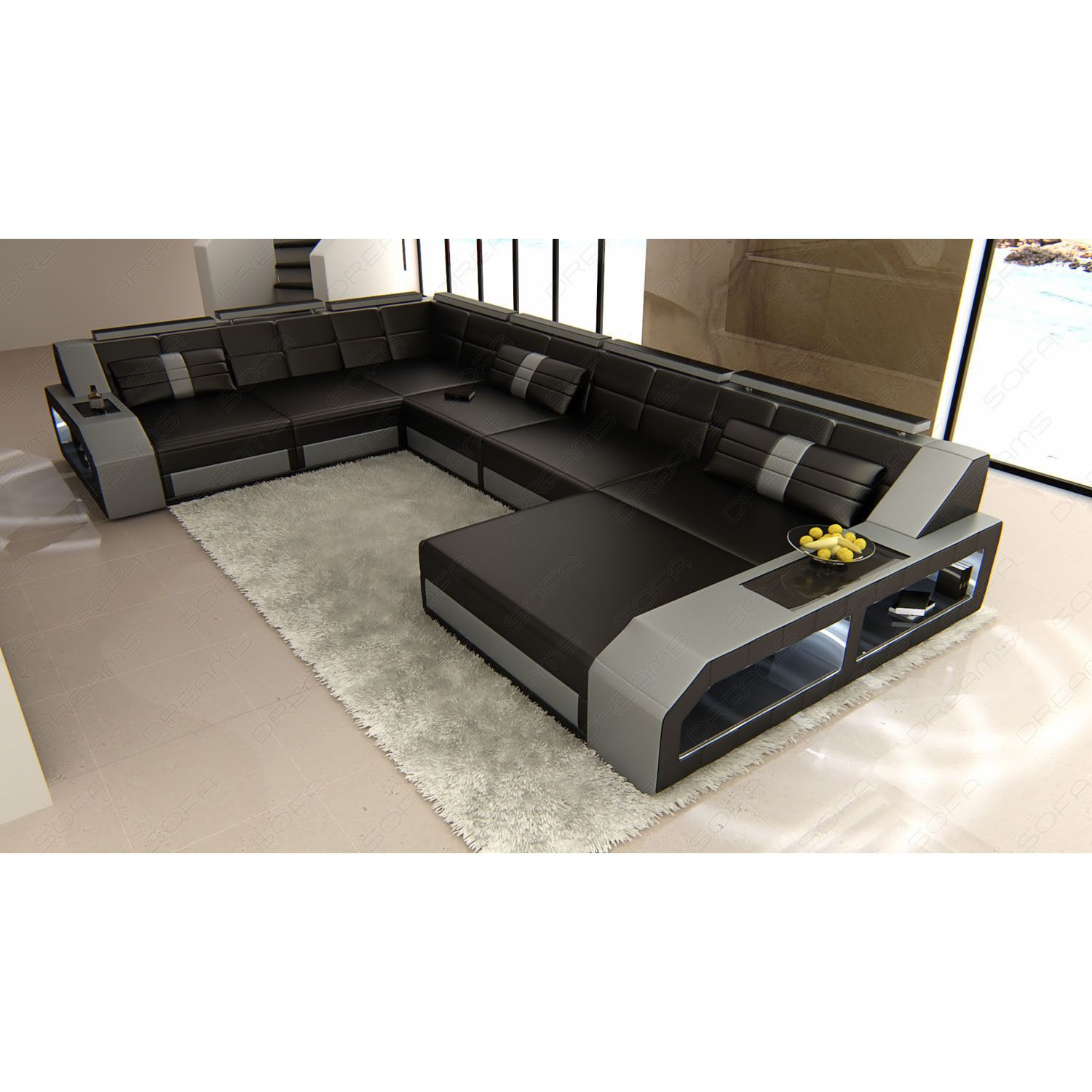Design Sectional Sofa Houston with LED Lights (Sectional ...