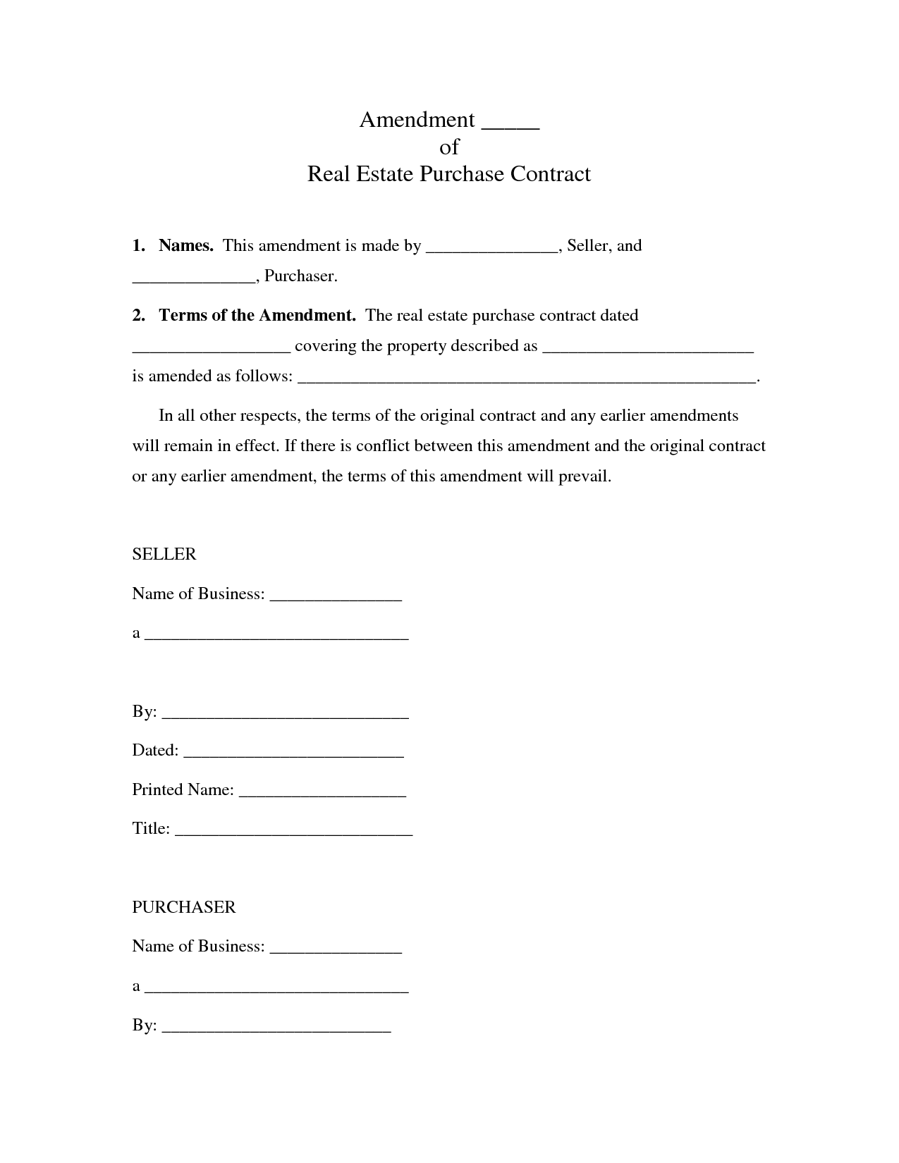 Real Estate Purchase Contract  Sample Contracts